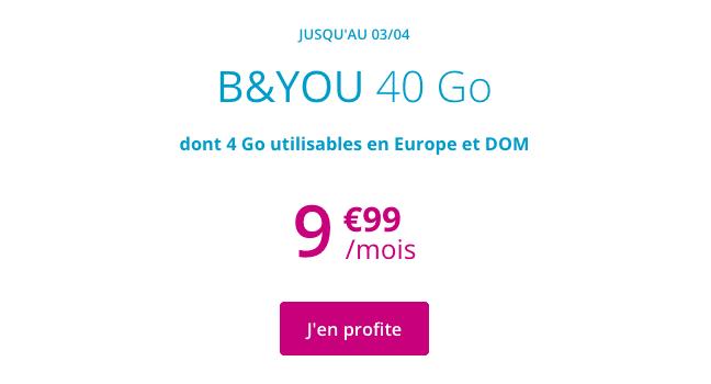 Forfait B&YOU 40 Go de 4G promotion.