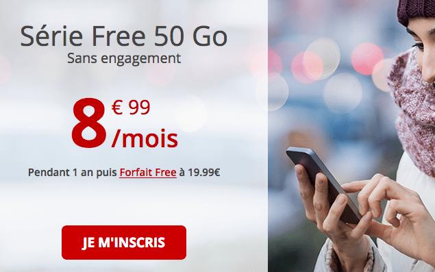 Forfait mobile Free avec 50 Go de 4G en promo.