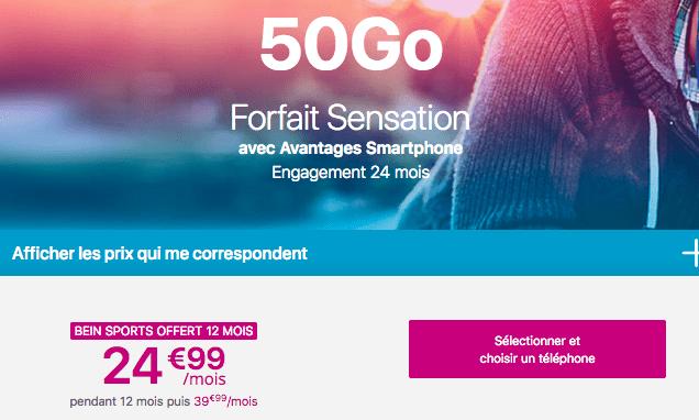 Forfait Sensation avec Samsung Galaxy S10e et iPhone XR.