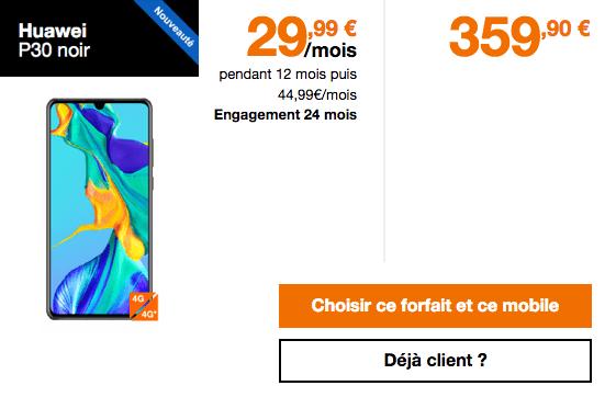 Promotion Huawei P30 et P30 Pro chez Orange.