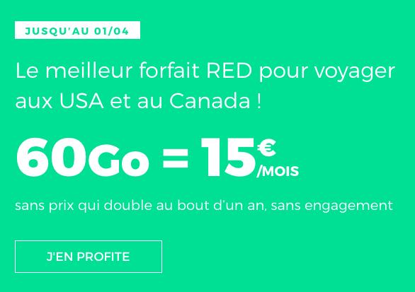 Sans engagement, promo sur le forfait 4G de RED by SFR.