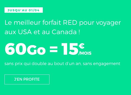Appels vers l'étranger illimités avec le forfait 4G de RED by SFR.