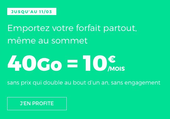L'offre de RED by SFR pour un forfait pas cher à 10€.