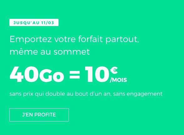 40 Go de 4G à travers un forfait en promotion à moins de 10€.