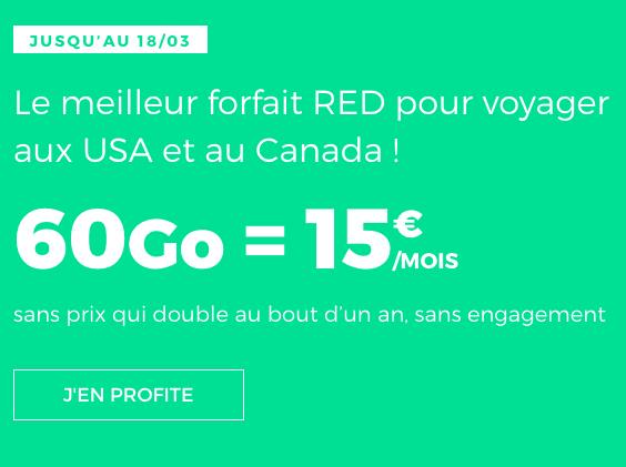 Appeler aux USA avec le forfait pas cher de RED by SFR.