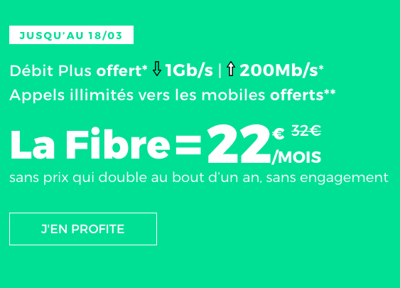 Une box internet avec deux options intégrées, la fibre optique et l'ADSL chez RED by SFR? sans engagement.