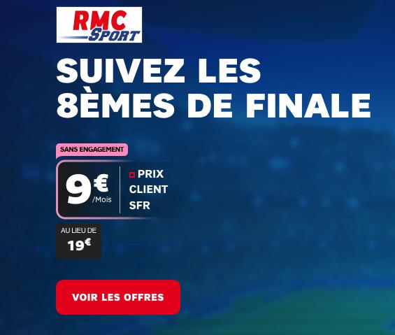 RMC Sport avec 10€de réduction grâce au forfait mobile de SFR.
