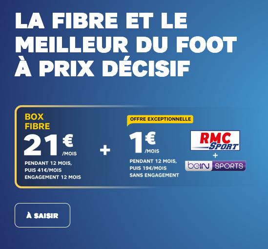 Box internet et RMC Sport ainsi que beIN SPORTS à prix cassés chez SFR.