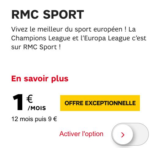 Promotion RMC Sport chez SFR.