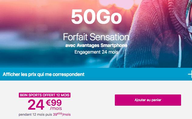 Promotion forfait Sensaton 50 Go.