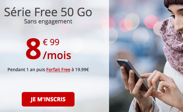 Promotion série Free 50 Go forfait 4G.