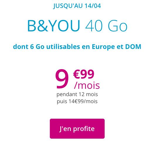 B&YOU et le forfait sans engagement en promo avec de la 4G à volonté