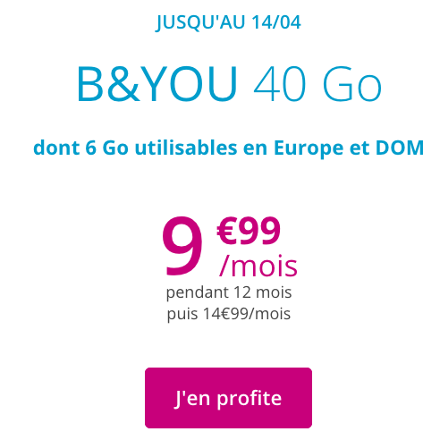 Bouygues Telecom avec B&YOU met en avant un forfait pas cher et sans engagement