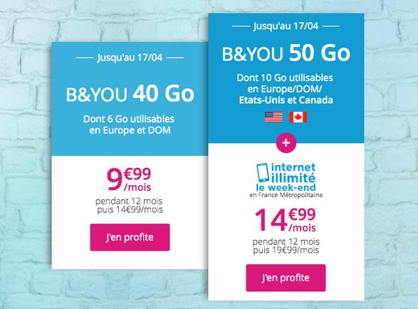 50 Go de 4G et Internet illimité avec le forfait pas cher de B&YOU.