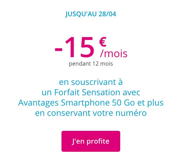 Promotion sur les forfaits Sensation de Bouygues Telecom.