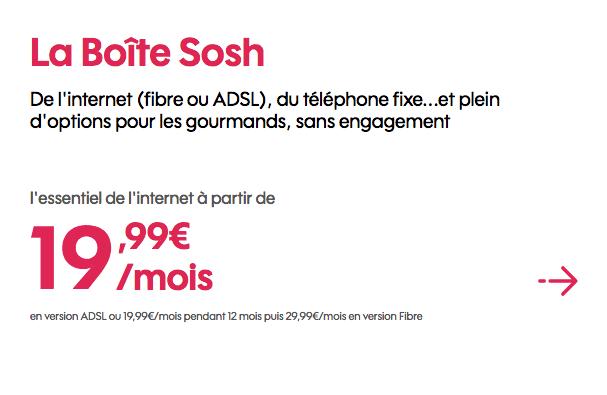 Promotion box internet fibre optique Sosh.