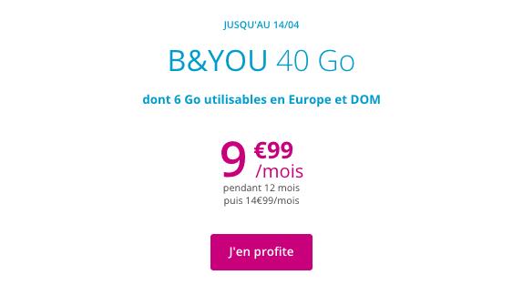B&YOU 40 Go promo forfait sans engagement Bouygues Telecom.