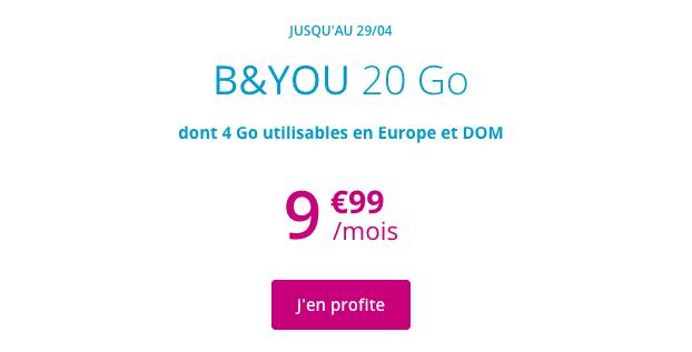 Forfait mobile en promo chez B&YOU, avec 20 Go de données internet.