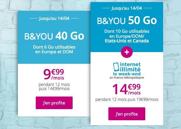 Forfait sans engagement B&YOU promo à 9,99€ par mois.