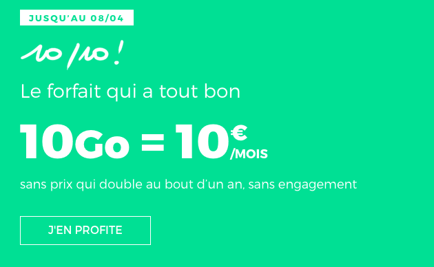 Forfait mobile en promo chez RED by SFR avec 10 Go de data.