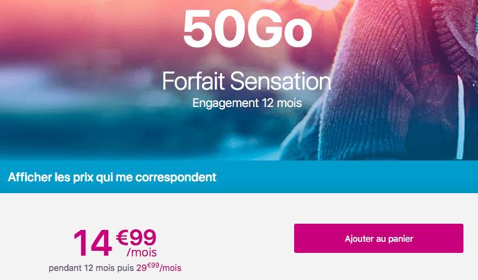 Forfait Sensation 50 Go en promotion chez Bouygues Telecom.