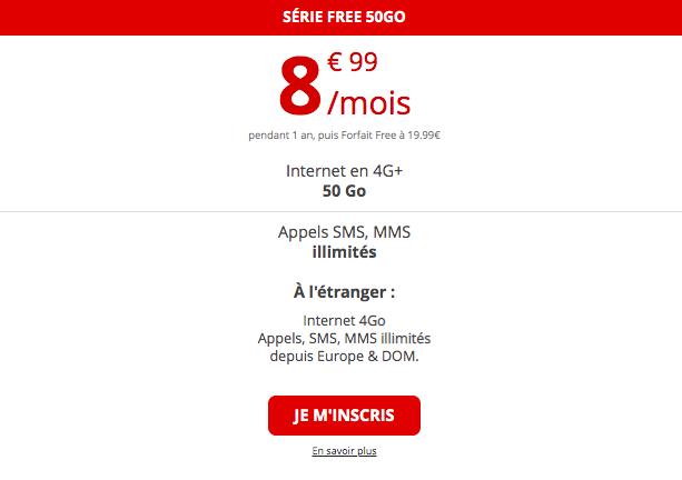 le forfait 4G 50 Go de Free
