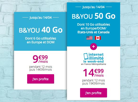 Promotion forfait 4G B&YOU 40 Go.