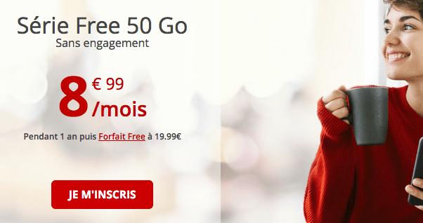 Promotion forfait 4G chez Free mobile.