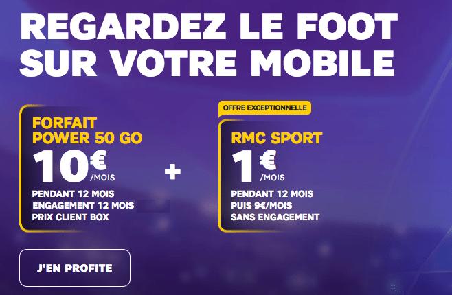 Forfait 4G promotion avec RMC Sport chez SFR.