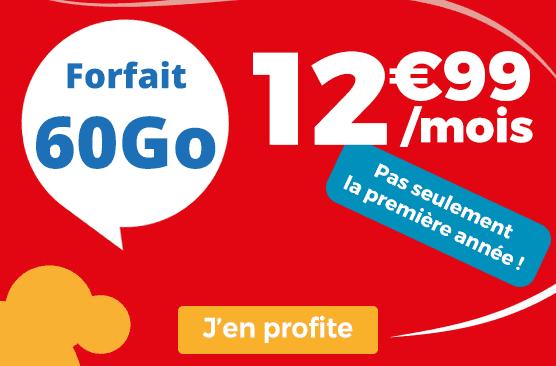 Forfait mobile Auchan Telecom promotion avec 60 Go de data.