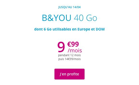 Promotion forfait avec 40 Go de data.