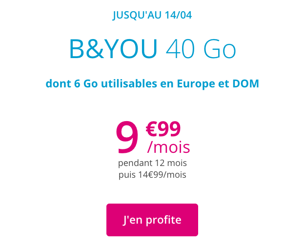 le forfait mobile B&YOU 40 Go