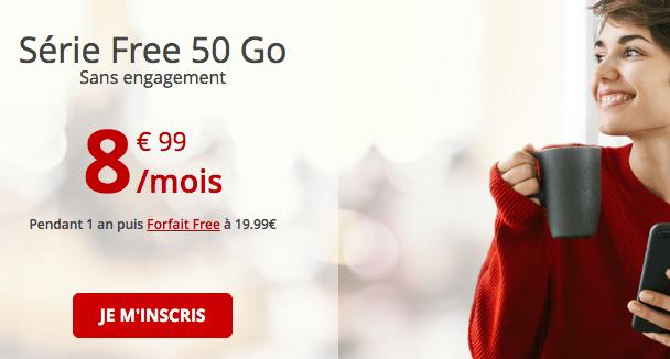 Promo forfait Free pas cher avec 50 Go de data.