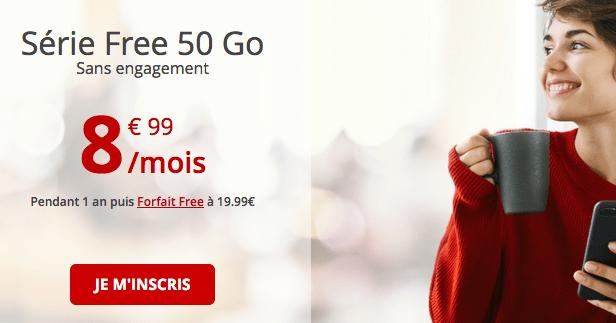 Forfait Free en promo avec 50 Go de data.