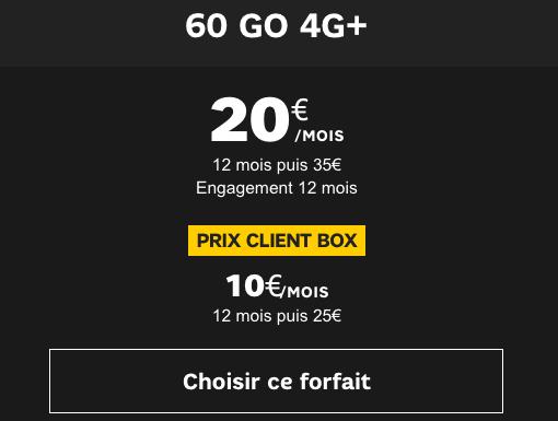 Forfait 4G pas cher SFR.
