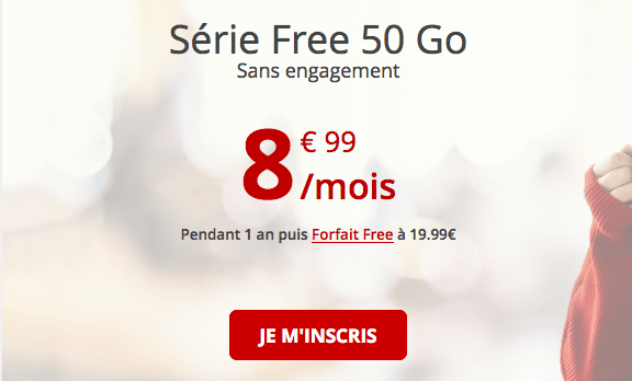 Forfait mobile 4G pas cher chez Free.