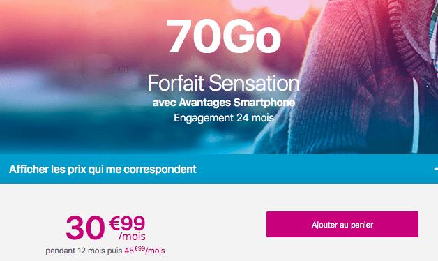 Forfait Sensation 70 Go avec Avantages smartphone.