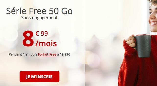 Promo forfait 4G chez Free mobile.