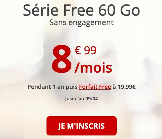 Free mobile pas cher avec 60 Go de 4G.