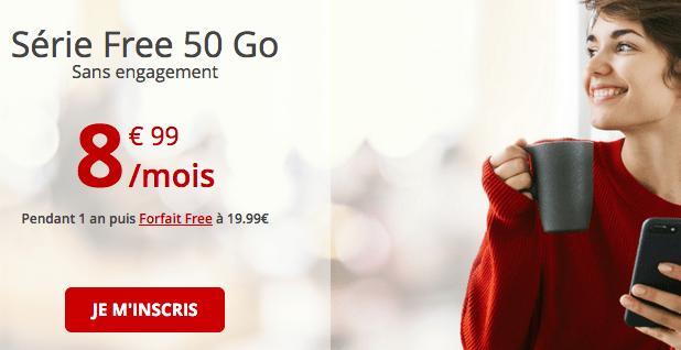 Promotion Free mobile avec 50 Go de données internet.