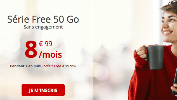 Free forfait mobile en promotion avec 50 Go de data.