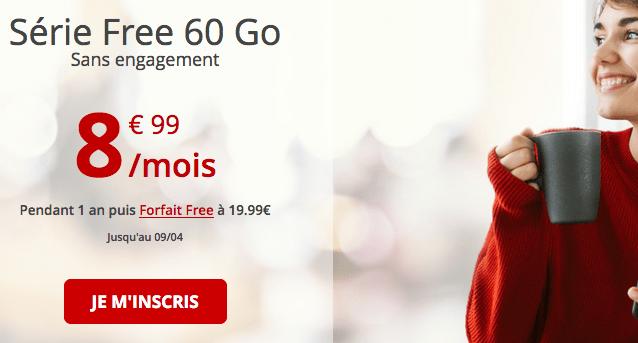 Forfait mobile Free en série spéciale avec 60 Go de 4G.
