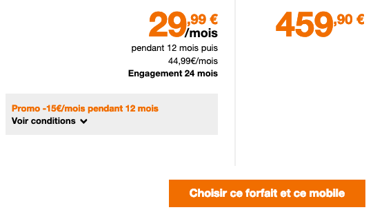 Forfait Orange avec 50 Go de 4G pour smartphone Huawei P30 Pro
