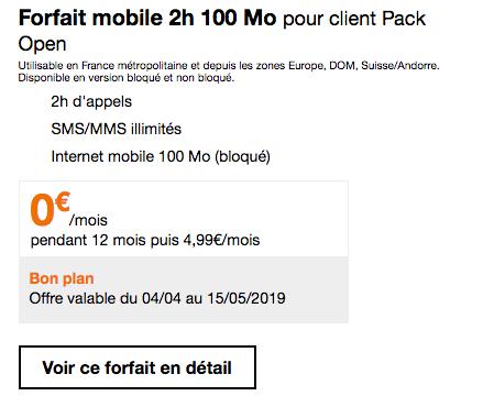 Forfait mobile en promo chez Orange avec 2h appels.