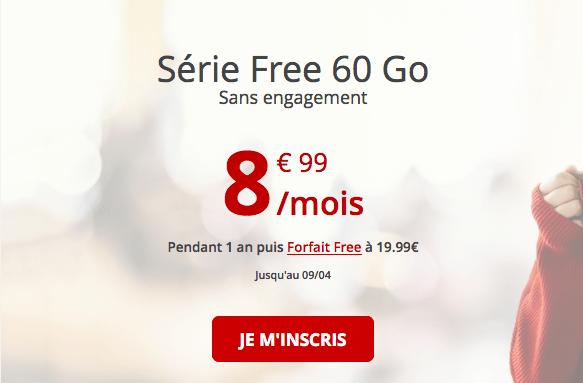 Forfait pas cher chez Free avec 60 Go de 4G.