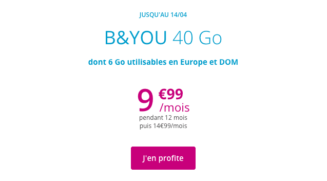 B&YOU 40 Go promotion forfait mobile.