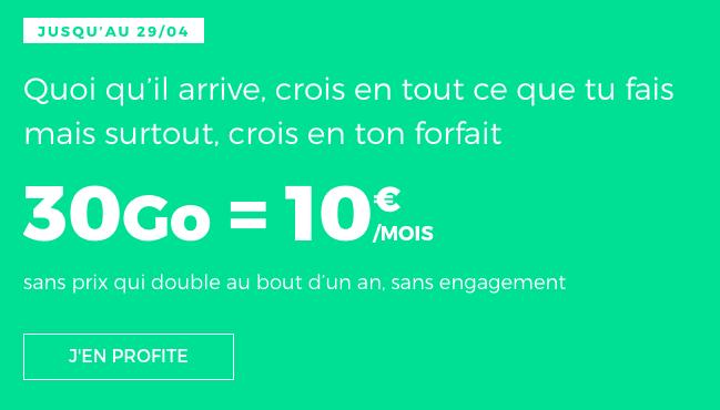 Forfait RED by SFR en promotion à 10€ par mois.