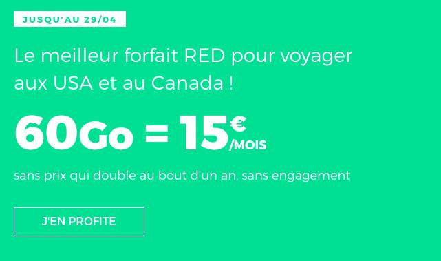 Promo forfait RED illimité 60 Go.