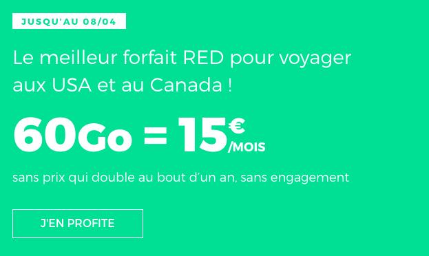 Forfait RED illimité 60 Go promo.