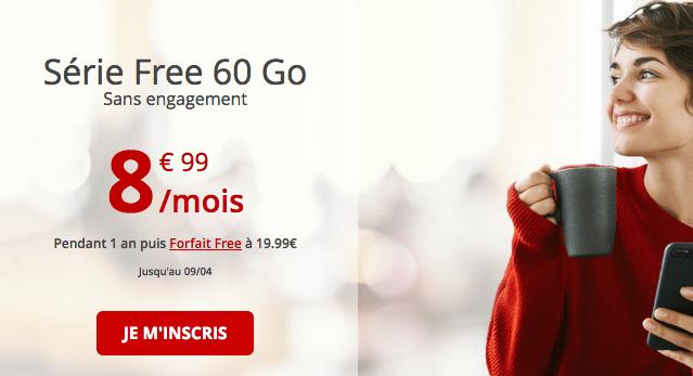Free forfait mobile sans engagement en promo.